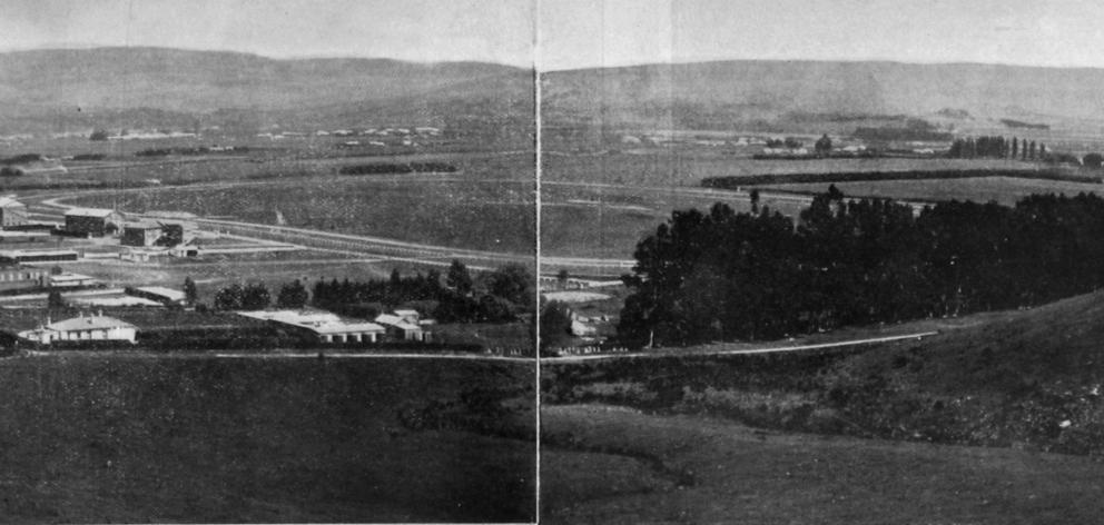 A panoramic view over the Taieri Plain, with the Wingatui racecourse in the foreground. — Otago...