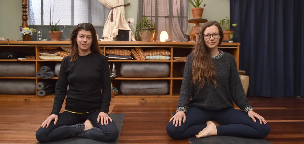 Brittany Mason (left) and Saskia Seeling opened their yoga and meditation business at the beginning of February. With increasing rules to stop the spread of Covid-19, the future of their studio is in peril. Photo: Gregor Richardson