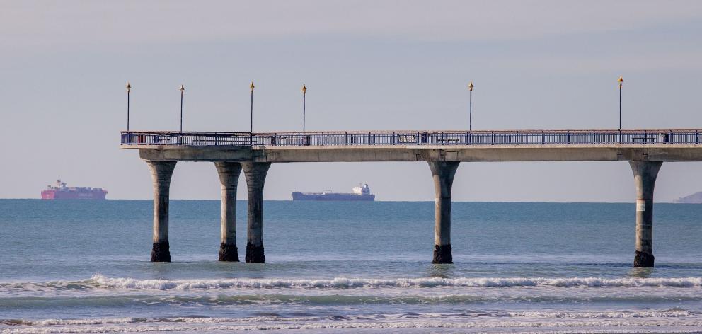 Passing ships in Pegasus Bay.