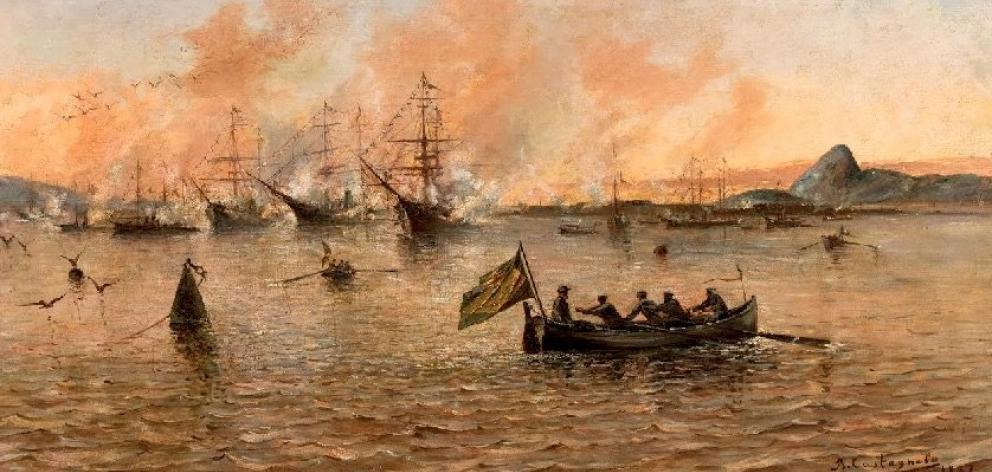 'Gun Salute on a Gala Day at the Rio de Janeiro Bay', detail by Joao Batista Castagneto