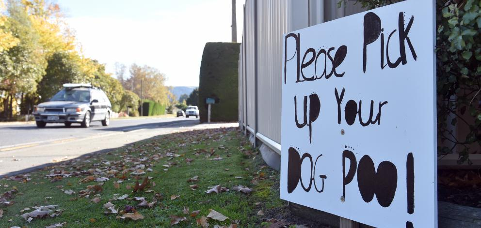 A sign outside a property on Riccarton Rd East, Taieri sends a clear message to dog walkers....