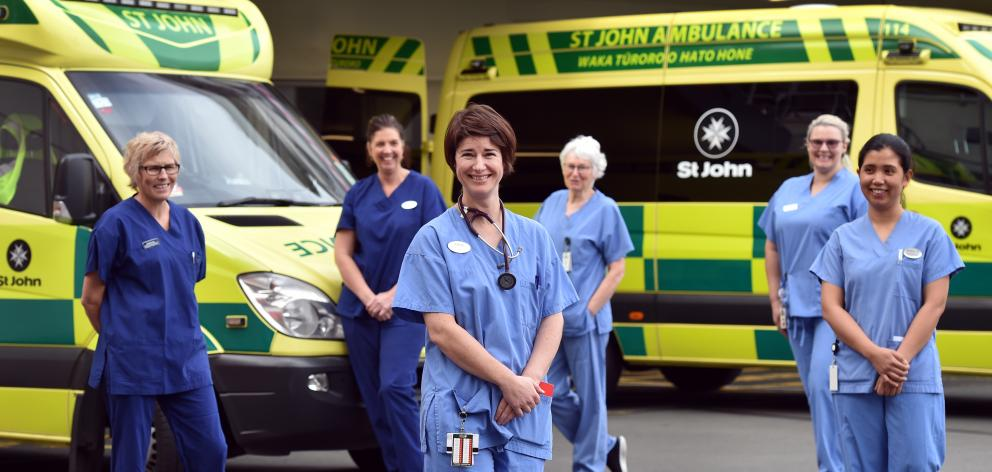 Dunedin Hospital intensive care nurses among those marking International Nurses Day (from left)...