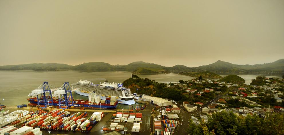 Xin Zhang Zhou at the Port Chalmers container terminal in January. PHOTO: GERARD O'BRIEN