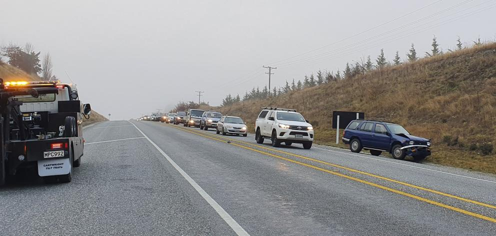 Traffic congests the road into Queenstown after a crash this morning. Photo: Matthew Mckew