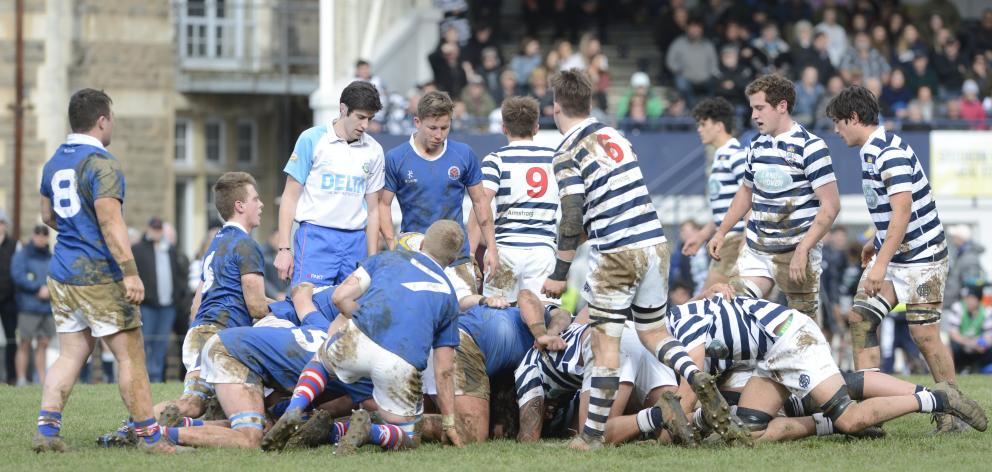 A scrum collapses during the first XV clash between Otago Boys' High School and Southland Boys'...
