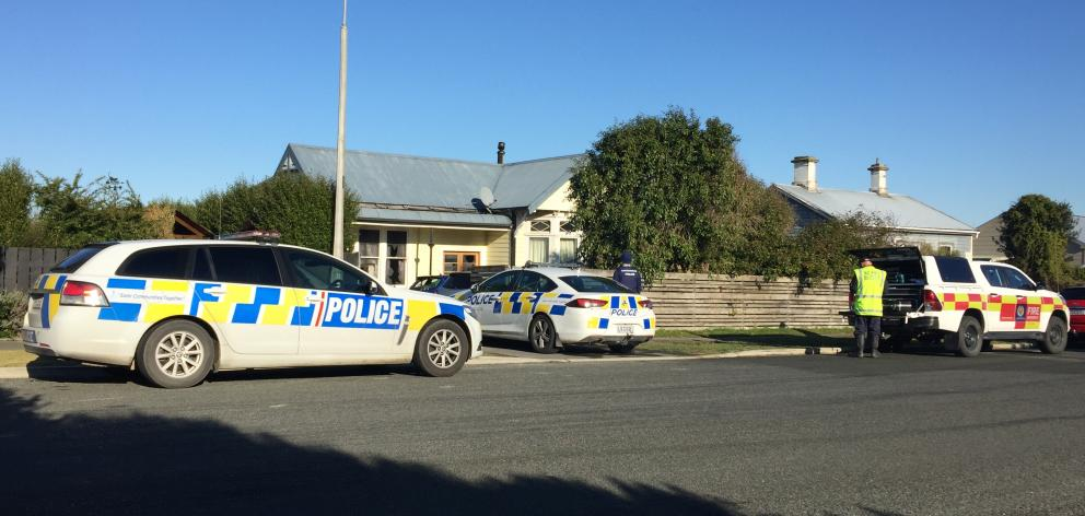 Emergency services at the scene in Invercargill this morning. Photo: Luisa Girao