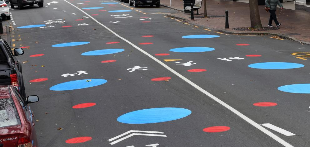 Brightly painted dots appeared on George St in May to highlight that it is a shared space. PHOTO:...
