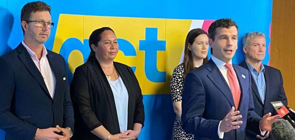 Act's top five (from left) Simon Court, Nicole McKee, Brooke van Velden, leader David Seymour and...