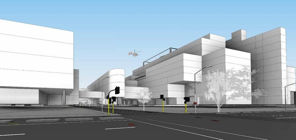 Latest design proposal of Dunedin's new hospital. Image: Warren and Mahoney Architects