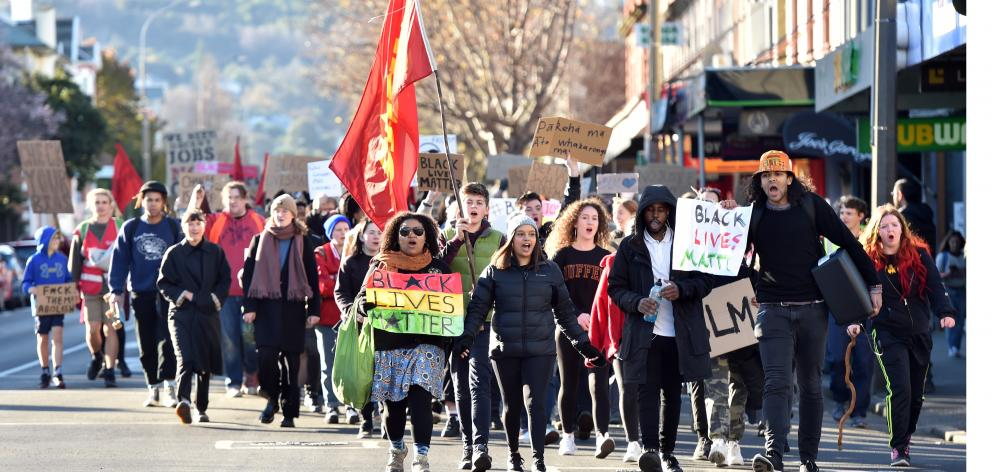 Hundreds of protesters marched down Dunedin's George St to show their support for the Black Lives...