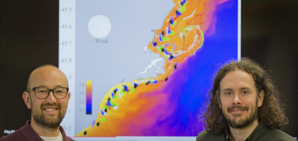 University of Otago marine science researchers Ata Suanda (left) and Robert Smith with an image...