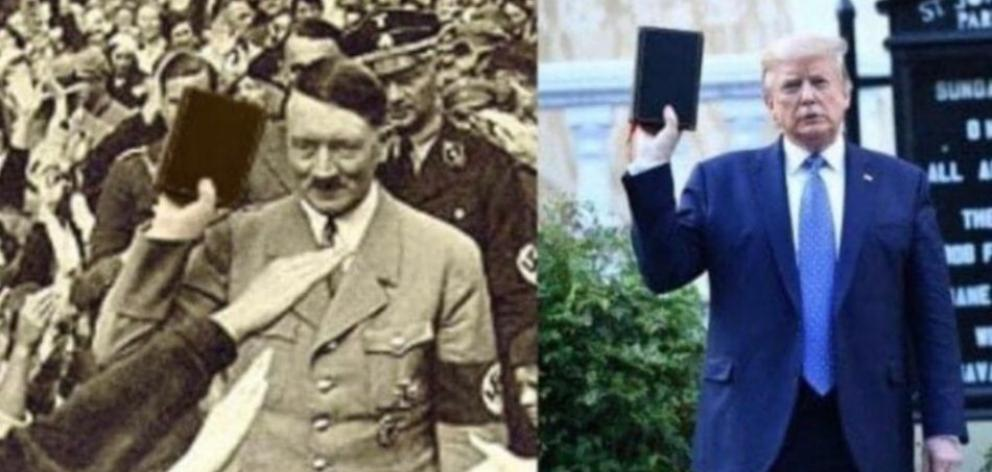 A historic photo of Adolf Hitler digitally altered to show him holding a Bible, with ...