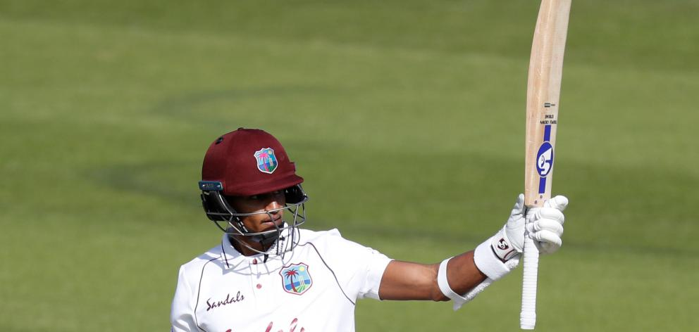 The West Indies' Shane Dowrich celebrates reaching his half-century. Photo: Reuters