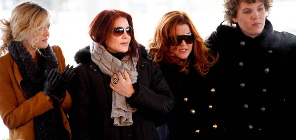 The Presley family Riley Keough, Priscilla Presley, Lisa Marie Presley and Benjamin Keough in 2010. Photo: Reuters