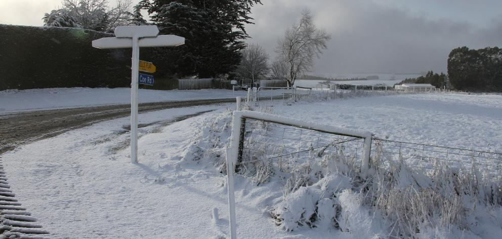 Snow blankets the rural area of Hillend, in the Clutha District. Photo: John Cosgrove