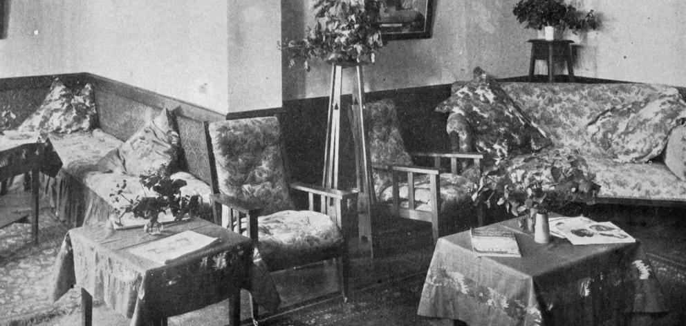 The lounge room for girls in the Methodist Central Mission hall, in the Octagon, Dunedin, opened...