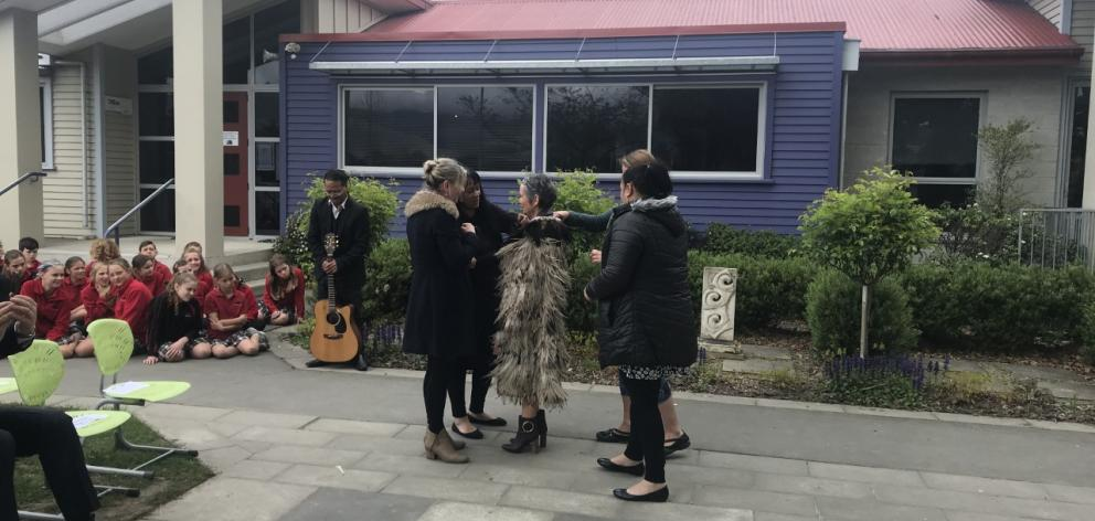Bernadette May during the Mihi Whakatau for the principal's welcome. Photo: Supplied