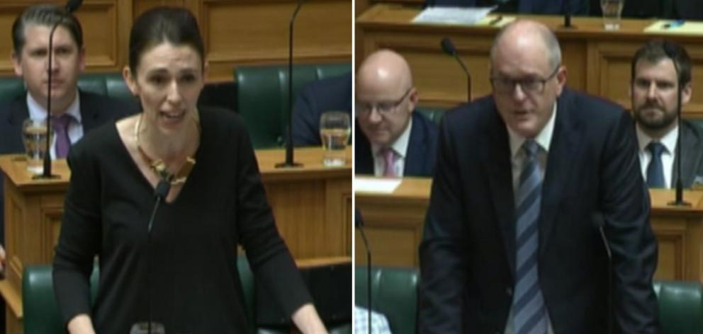 Prime Minister Jacinda Ardern squares off against then Opposition leader Todd Muller in the...