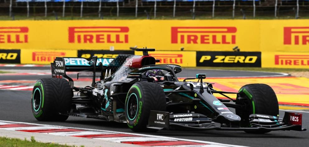 Lewis Hamilton on the way to winning the Hungarian GP this morning. Photo: Getty Images