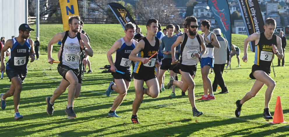 The runners start in the senior men's race of the Lovelock Relays  at the University of Otago...