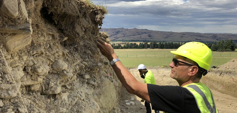 Prof Mark Stirling working at the Hyde Fault near Middlemarch. PHOTO: SUPPLIED