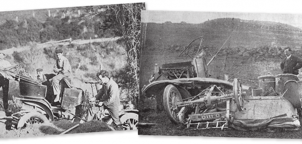 Left: Motor car accident at the Junction Hill, near Dunedin. Mr J. Mills' Buick hung up in a tree...