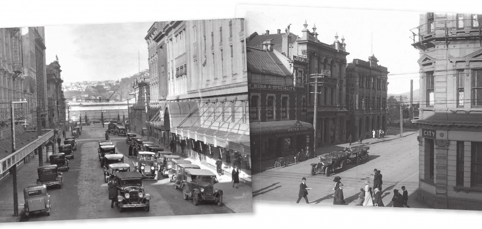 Cars parked in Brandon St, Wellington circa 1932. Right: Cars parked in Moray Pl, Dunedin. IMAGES...
