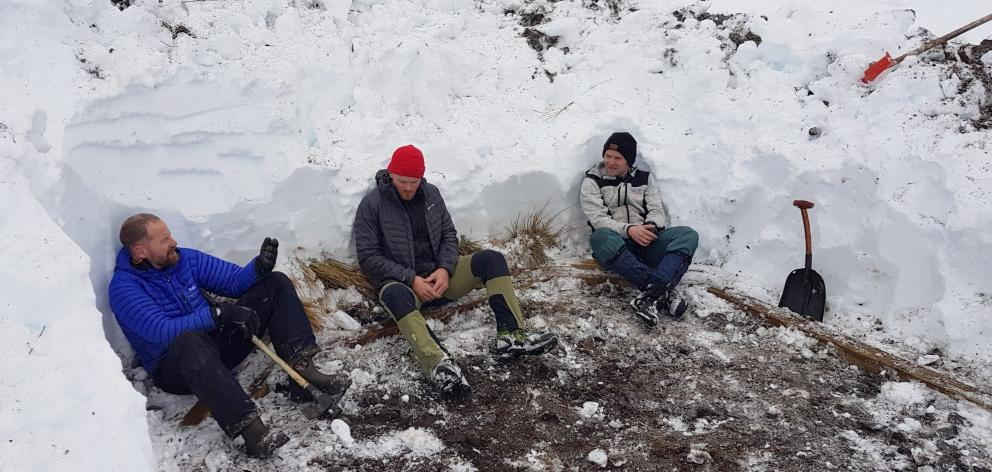 Waiting for a Turk to arrive are the digging team of (from left) Russell Tilsley, Ashley Weyman...