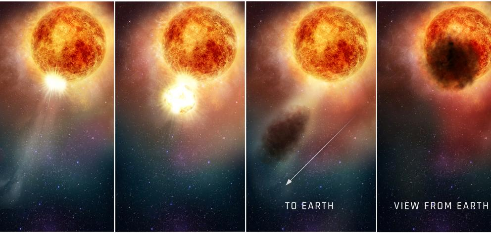 This four-panel illustration shows how the southern region of the rapidly evolving, bright, red supergiant star Betelgeuse may have suddenly become fainter for several months during late 2019 and early 2020. Photo: NASA/ESA/E. Wheatley (STScI)/Handout via