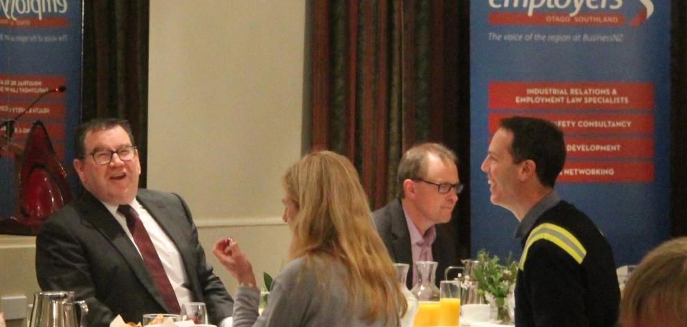 Minister of Finance Grant Robertson shares a laugh with Southern Institute of Technology interim...