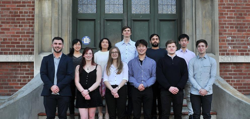 Otago Medical School bachelor of medical science, with honours, scholarship recipients (back row,...