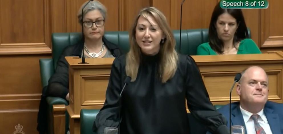 Sarah Dowie speaking in Parliament last year. PHOTO: PARLIAMENT TV