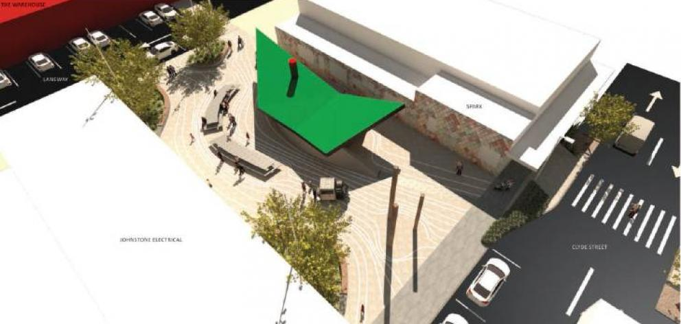 Concept render option for Clutha District Council's new ''destination toilets'' in Balclutha: The ferry, the table, and the river (above). Image: ROUGH & MILNE LANDSCAPE ARCHITECTS/SUPPLIED