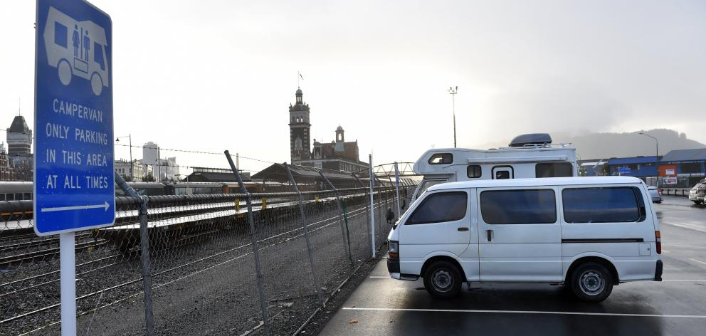 Freedom campers in the Thomas Burns car park. PHOTO: PETER MCINTOSH