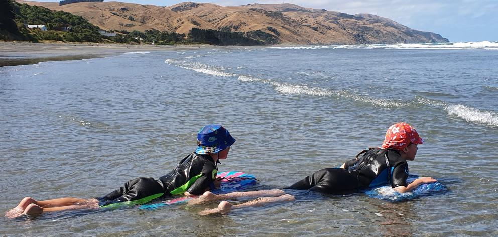 Two Gore Bay lads enjoying a dip.