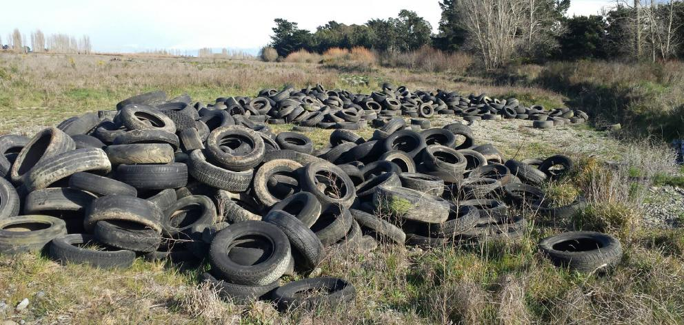 The 800-1000 tyres that were found discarded at the Selwyn River earlier this month. Photo: Supplied