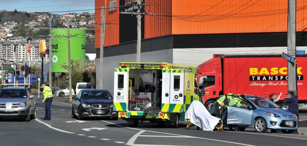 Emergency services at the scene this morning. Photo: CHRISTINE O'CONNOR