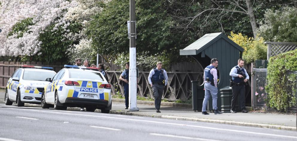 Police on North Rd this morning. Photo: Craig Baxter