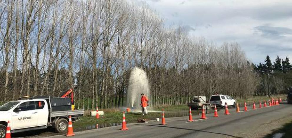 The air valve malfunction sent wastewater soaring high into the air. PhotoNZ Herald