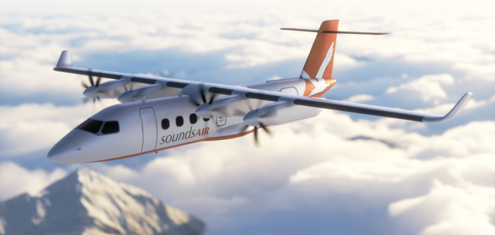 Sounds Air has signed a letter of intent with Swedish aircraft manufacturer Heart Aerospace to buy an ES-19 electric aircraft. Photo: Supplied