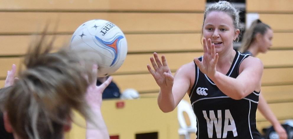 Southern Magpies wing attack Zoe Flockton passes the ball during their match against Physed A at...
