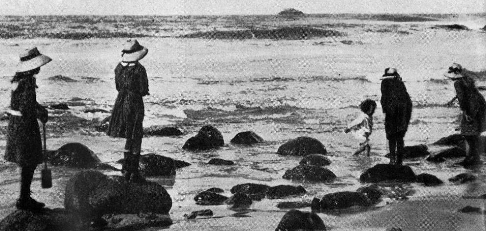 Children on the beach at St Clair, Dunedin. — Otago Witness, 21.9.1920. ...