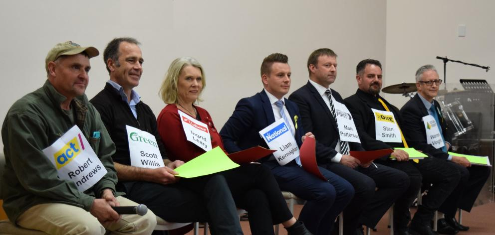 Taieri parliamentary candidates (from left) Robert Andrews (Act New Zealand), Scott Willis (Green...