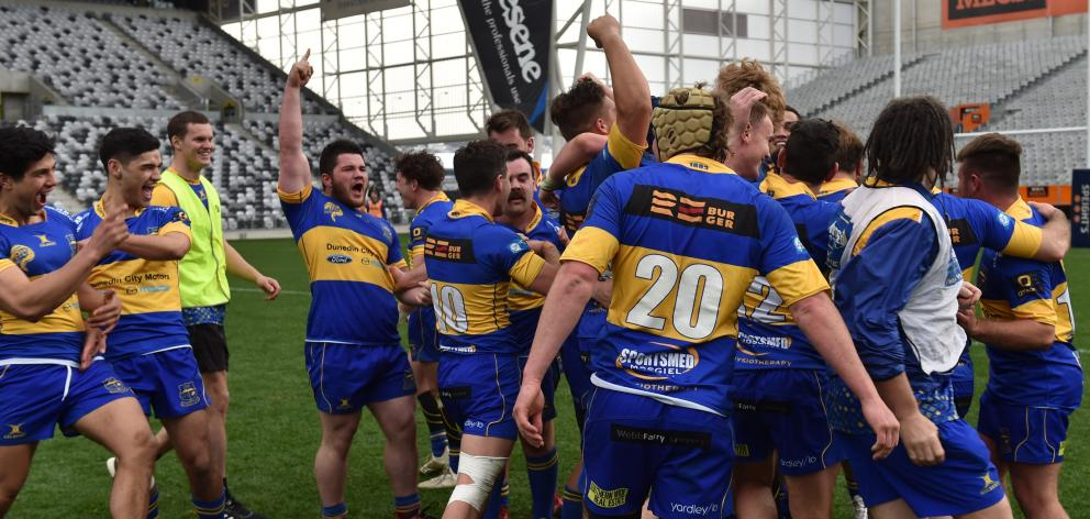 Taieri celebrate their impressive win over Varsity in the Dunedin Premier club rugby final at...