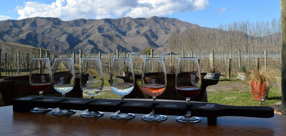 A  tasting tray at River-T Estate wines in Kurow.
