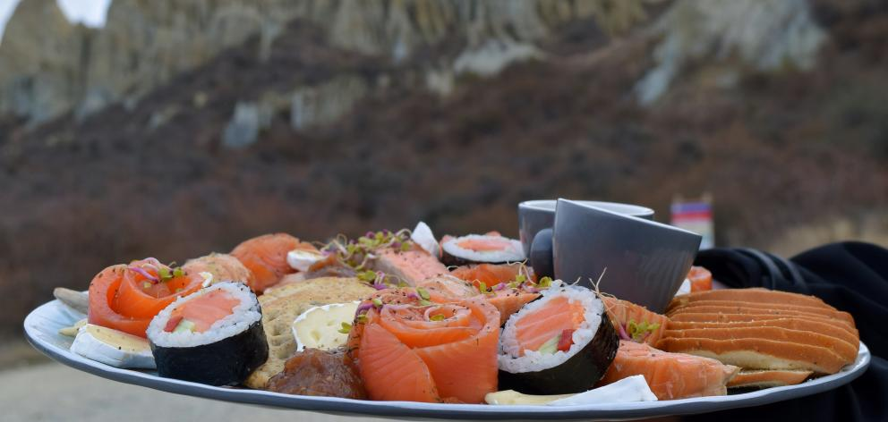 A High Country Salmon platter at the Clay Cliffs.