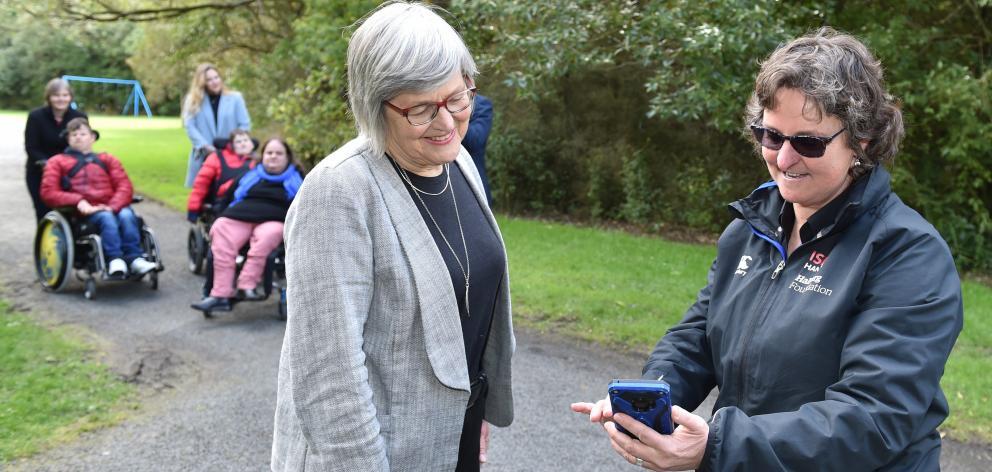 Minister of Conservation Eugenie Sage and Halberg Foundation lead adviser Bridget Meyer check out...