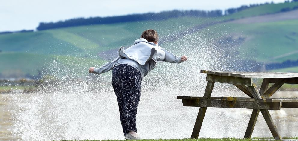 Linda Bennett, of Wellington, leans into a severe gale at Lake Waihola yesterday. PHOTO: PETER...
