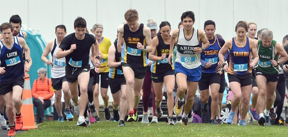 Competitors at the start of the Otago 10km road championships yesterday. Nic Bathgate (Leith) won...