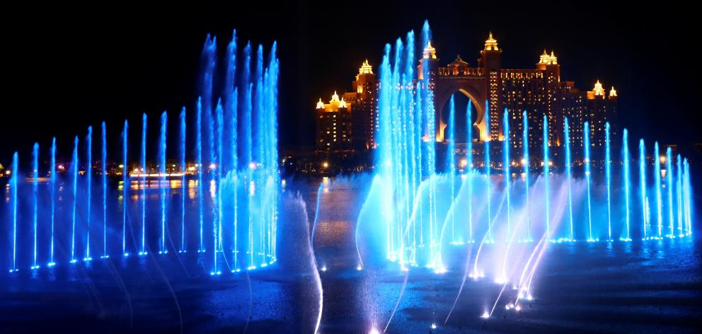 A view shows a new fountain during a ceremony at the Palm Jumeirah. Photo: Reuters